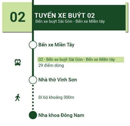 tuyến xe buýt 02 đến nha khoa đông nam