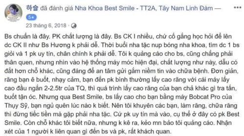 Nha khoa BestSmile 21 TT2A Tây Nam Linh Đàm có tốt không?
