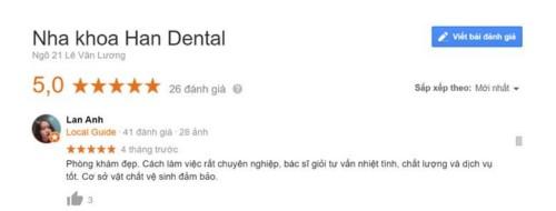 Nha Khoa Han Dental ngõ 21 Lê Văn Lương Thanh Xuân có tốt không?