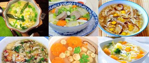 Súp, canh hầm rau củ quả thường mềm, dễ ăn, dễ nuốt