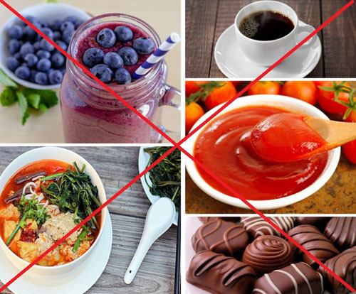 Tránh dùng đồ ăn, nước uống có màu đậm
